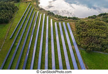 Aerial view on solar farm. Alternative energy from sun -...