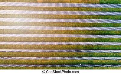 Aerial view on solar farm. Alternative energy from sun -...
