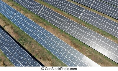 Aerial view on solar pannels - Aerial view on blue solar...