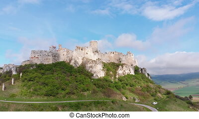Aerial view on Spissky Hrad. Slovakia. The Ruins of Stone...