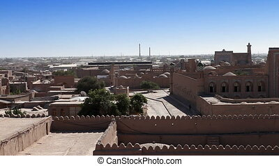 Aerial view on streets of the old city. Uzbekistan. Khiva