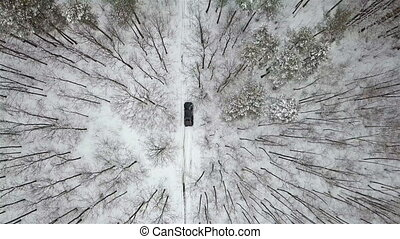 Aerial view on SUV 6x6 that rides by winter road in snow-covered forest, top view