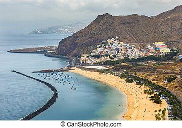 Aerial view on Teresitas beach near Santa Cruz,Tenerife,...