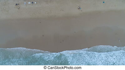 Aerial view on the beach and sea waves, Phuket
