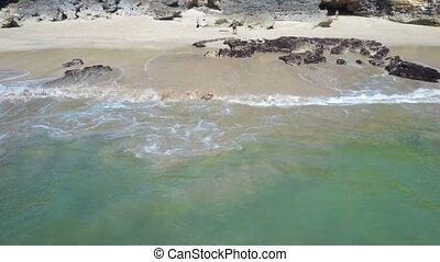 Aerial view on the beach. Bali Ocean