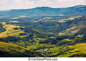 aerial view on the carpathian village. beautiful summer...
