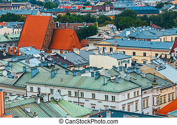 aerial view on the central square of Krakow, poland