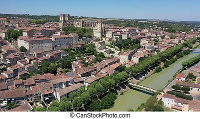 Aerial view on the city Auch. France - Panoramic view from ...