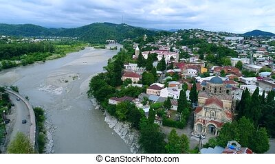 Aerial view on the city centre of Kutaisi
