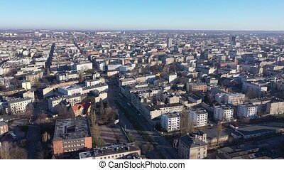 Aerial view on the city Lodz. Poland. High quality 4k footage