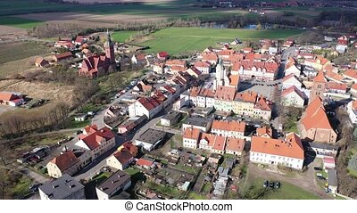 Panoramic view from the drone on the city Prusice. Poland