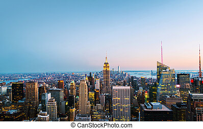 Aerial view on the city skyline in New York City, USA on a night