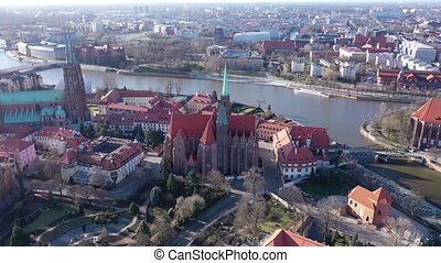 Aerial view on the city Wroclaw and gothic cathedral. Poland...