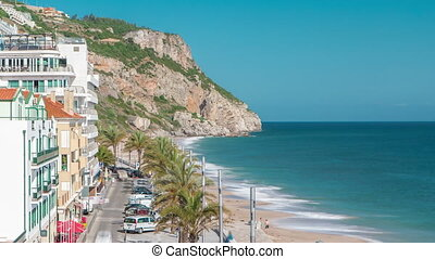 Aerial view on the coastal town of Sesimbra in Portugal...