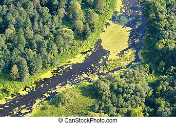 Aerial view on the flood land the great river during summer.