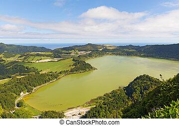 Aerial view on the lake Lagoa das Furnas near Furnas, Sao Miguel, Azores, Portugal.