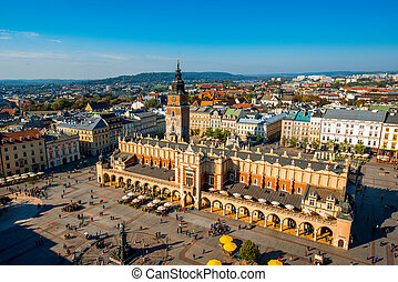 Aerial view on the main market square from St. Mary's basilica tower in Krakow