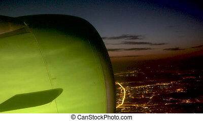Aerial view on the Moscow city from flying airplane at night