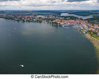 Aerial view on the town of Waren at Lake Mueritz