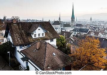 Aerial View on Tiled Roofs and Churches of Zurich at Fall, ...