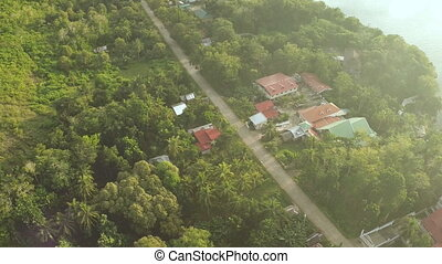 Aerial view on traditional Philippines fisherman village. Bohol Island. Shooting with the help of a drone. Coast.
