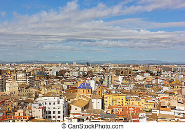 Aerial view on Valencia old city.
