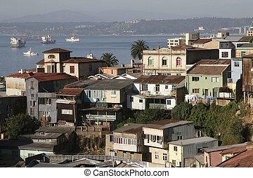 Valparaiso, Chile - Aerial view on Valparaiso, Chile