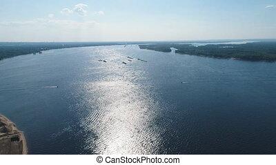 aerial view on Volga river and samara