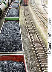 Aerial view on wagons with black coal.