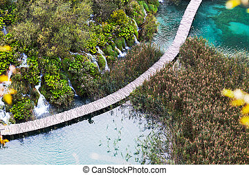 Aerial view on wooden bridge over the lake, Plitvice Lakes