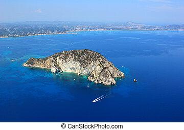 Aerial view on Zakynthos island Greece - Turtle island