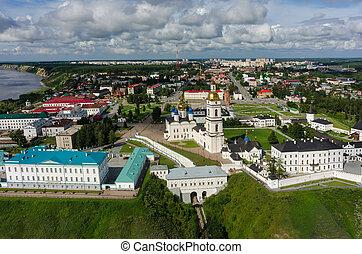 Aerial view onto Tobolsk Kremlin