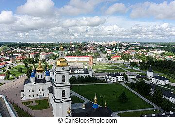 Aerial view onto Tobolsk Kremlin. Russia