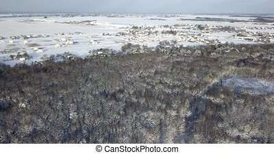 Aerial view over a snowy forest covered with snow near countryside buildings. Fly over frozen snowy fir and pine trees forest. Thick forest in the winter season. coniferous forest in winter.