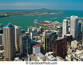 Aerial view over Auckland downtown city