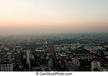 aerial view over Bangkok in sunset