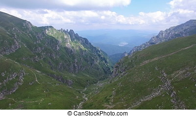 Aerial view over Bucegi mountains, Romania