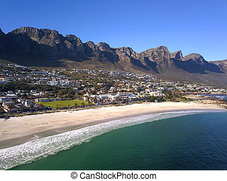 Aerial view over Camps Bay, Cape Town, South Africa