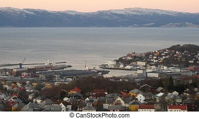 Aerial view over central Trondheim, Norway, establishing...