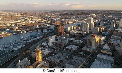 Aerial View Over Downtown Urban Metro Area Tacoma Washington...
