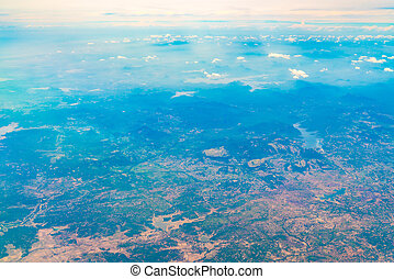 Aerial view over Earth Sea and Coast ,View from the airplane...