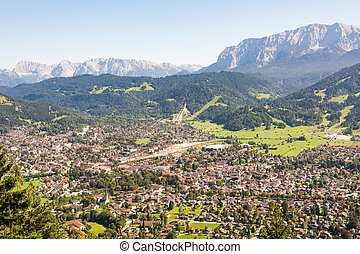 Aerial view over Garmisch in the alps of Bavaria