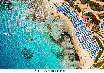 Aerial view over Glyki Nero Beach in Ayia Napa. Famagusta ...