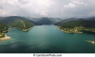 Aerial view over lake beside forest during summer - Aerial...
