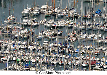 Aerial view over marina in Barcelona, Spain