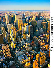 Aerial view over midtown and east side