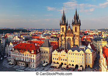 Old Town Square, Prague, Czech Republic - Aerial view over...