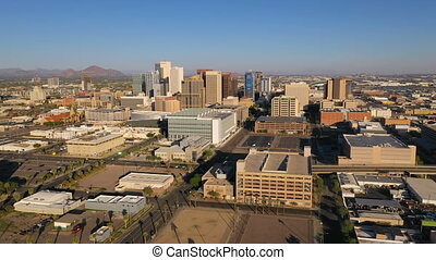 Aerial View Over Phoenix Arizona Downtown Urban City Skyline...