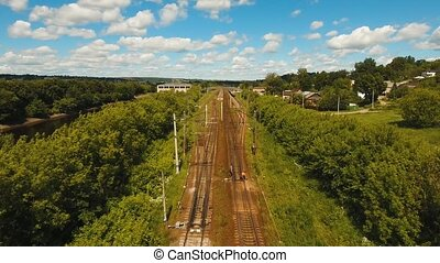 Aerial view over railway - Aerial view railway in the...