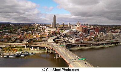Aerial View Over River to Albany New York Downtown Skyline...